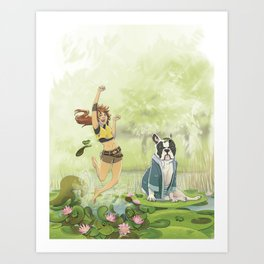Toto and the frogs Art Print