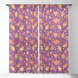 Autumn Nights Leaf and Star Pattern Sheer Curtain