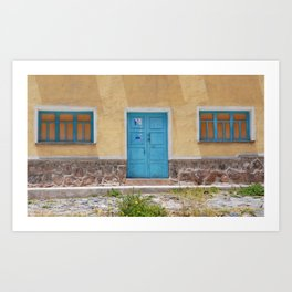 Bolivia door 7 blue on yellow Art Print