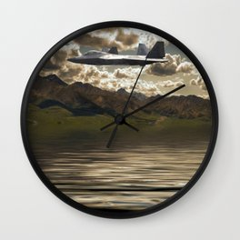Jet Over Water Wall Clock