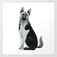 german shepherd Art Prints featuring German Shepherd by Cathy Brear