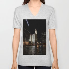 Wrigley Building and Chicago River at Night Color Photo Unisex V-Neck