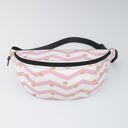 Trendy girly pink gold chevron zigzag polka dots Fanny Pack