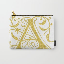 Gold Foil Letter A Carry-All Pouch