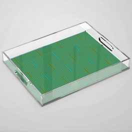 Doors & corners op art pattern in olive green and aqua blue Acrylic Tray