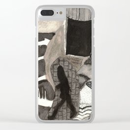 Walking in Our Dreams Abstract Ink Collage Clear iPhone Case