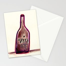 "Vin - A Bottle of Wine That Says ""Wine"" (& Painted with Wine) Stationery Cards"