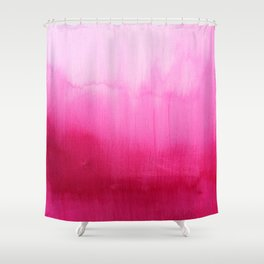 Modern fuchsia watercolor paint brushtrokes Shower Curtain