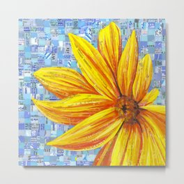 Sunflower Mosaic Metal Print