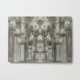 Black and White Milan Duomo Cathedral Interior View Metal Print