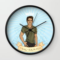 kendrawcandraw Wall Clocks featuring The King of Beacon Hills by kendrawcandraw