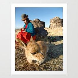 Woman And Llama At Sillustani - Puno, Peru Art Print