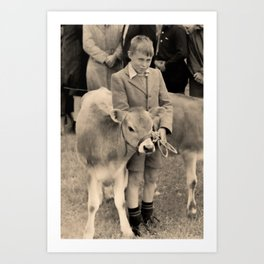 Uncle Brian, 1st place at the calf competition, Waihi County fare Art Print