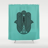 hamsa Shower Curtains featuring hamsa  by Leandro Pita