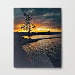 Burning Lonesome Tree. Metal Print