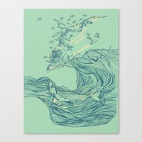 waves Canvas Prints featuring Ocean Breath by Huebucket
