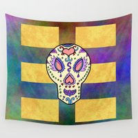 sugar skull Wall Tapestries featuring Sugar Skull by Linda Tomei