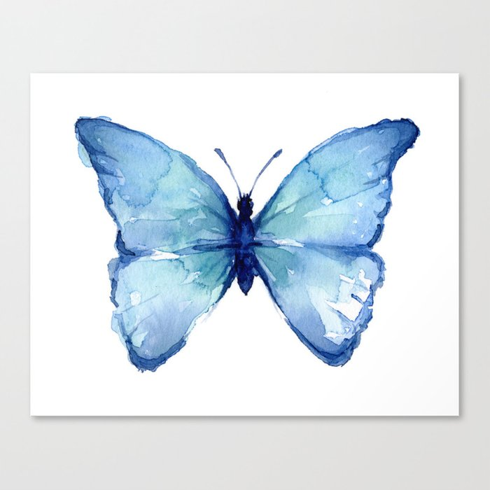 Blue Butterfly Watercolor Leinwanddruck
