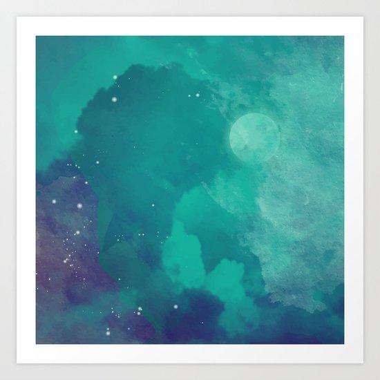 Watercolor night sky Art Print