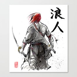 Samurai Red Haired Ronin with calligraphy Canvas Print
