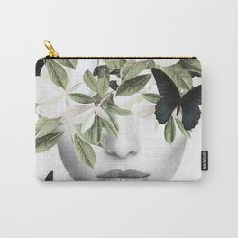 Woman With Flowers and Butterflies 3 Carry-All Pouch