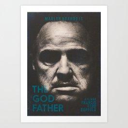 The Godfather, minimalist movie poster, Marlon Brando, Al Pacino, Francis Ford Coppola gangster film Art Print