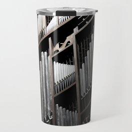 Gray and Brown Steel Organ Musical Instrument Abstract Print Travel Mug