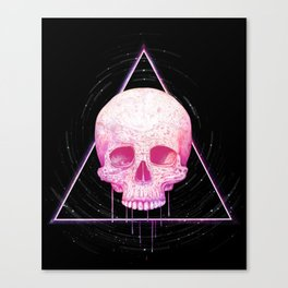 Skull in triangle on black Canvas Print