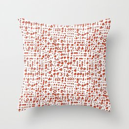 Red and White Abstract Drawn Cryptic Symbols Throw Pillow