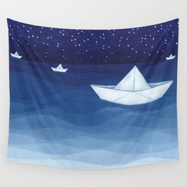 Paper boats illustration Wall Tapestry