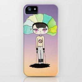 Pink eyed teen girl iPhone Case