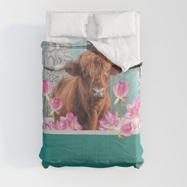 Highland Cow with turquoise Bathtub and Lotos Flowers Comforters