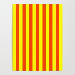 Super Bright Neon Orange and Yellow Vertical Beach Hut Stripes Poster