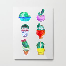 Cute Cacti Metal Print