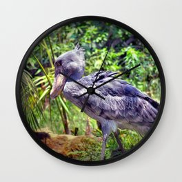 ShoeBill side portrait Wall Clock