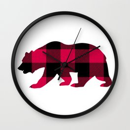 Buffalo Plaid Bear Wall Clock