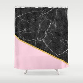 Black marble geometric gold leaf with pink Shower Curtain