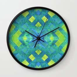 Green and blue geometric abstract motif, hand painted elements Wall Clock