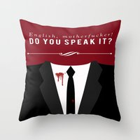 pulp fiction Throw Pillows featuring Pulp Fiction by Jason Vaughan