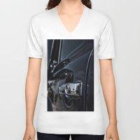 volkswagen V-neck T-shirts featuring volkswagen turtle by gzm_guvenc