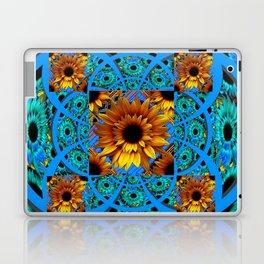 AWESOME BLUE & GOLD SUNFLOWERS  PATTERN ART Laptop & iPad Skin