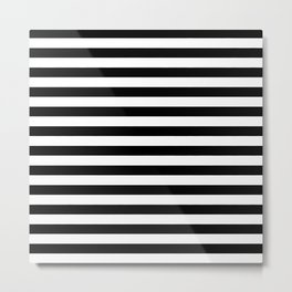 Black and White Horizontal Strips Metal Print