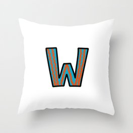 Uppercase Letter W Throw Pillow