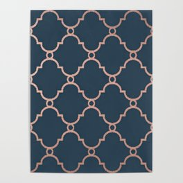 Satin Blue & Metallic Bronze Poster