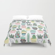 Cute Cacti in Pots Duvet Cover