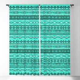 Modern Native Navajo Ethnic Tribal - Aquamarine Blue Color Blackout Curtain