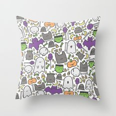 Kawaii Halloween - White Throw Pillow