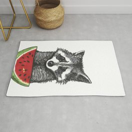 Racoon and watermelon Rug