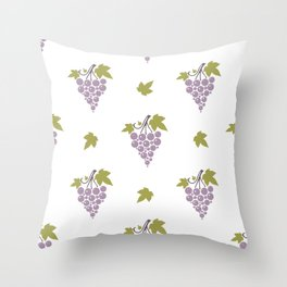 Seamless pattern with bunches of ripe grapes  Throw Pillow