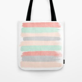 Stripes hand painted abstract minimal nursery decor gender neutral palette Tote Bag